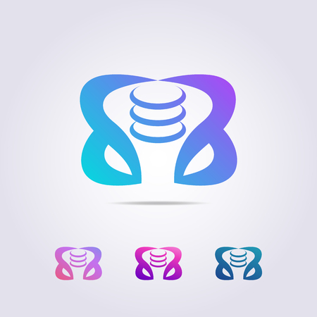 hip bone logo template with abstract form for your business and brand.