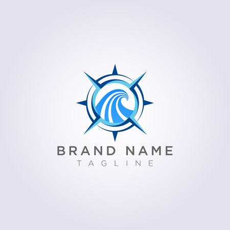Compass logo with ocean waves, for your Business or Brand.