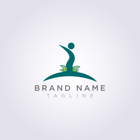 Design a person symbol logo with surrounding leaves for your business or brand.  イラスト・ベクター素材