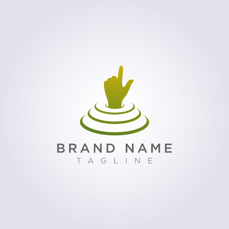 The hand logo design is on the stage and points up for your business or brand.