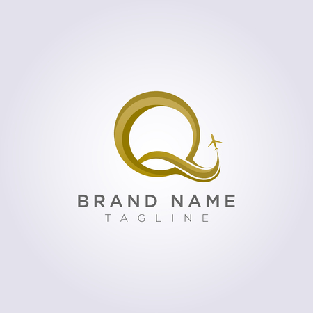 Logo Design combines the letter Q with the plane for your Business or Brand. Ilustração