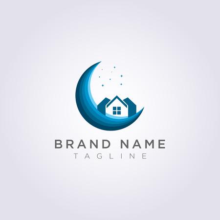 Concevez un logo de maison sur la lune avec des étoiles pour votre entreprise ou votre marque.