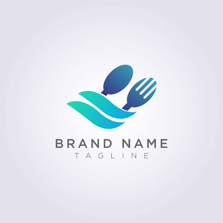 Logo spoon fork with leaves for your restaurant brand or business.