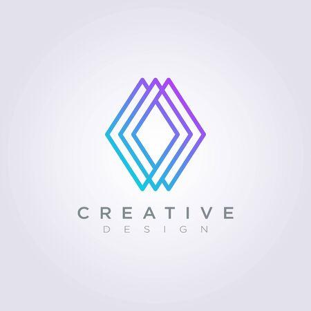 Rhombus Line Decorative Vector Illustration Design Clipart Symbol Logo Template.