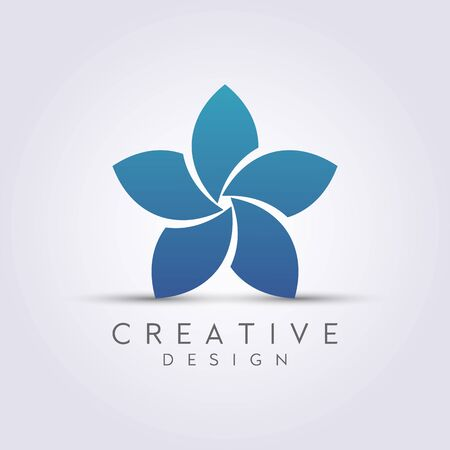 Modern Abstract Star Flower Vector. Design leaf logos, lotus, rose, beautiful tulips. For health, spa, cosmetics, boutiques, luxurious and colorful.. Illustration