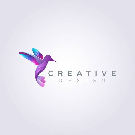 Beautiful Bird Flying Vector Illustration Design Clipart Symbol Logo Template.
