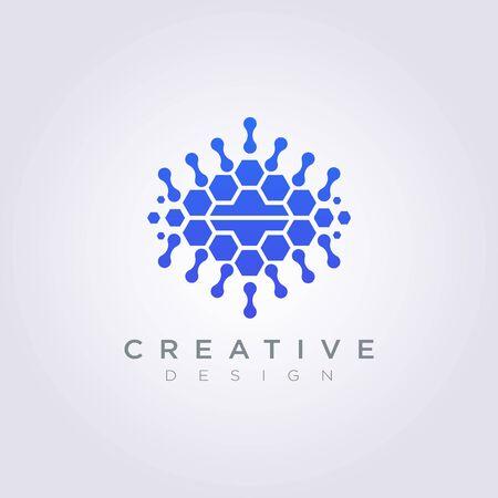 Conception de modèle de données de cerveau numérique Icône de symbole de vecteur de logo d'entreprise. Logo
