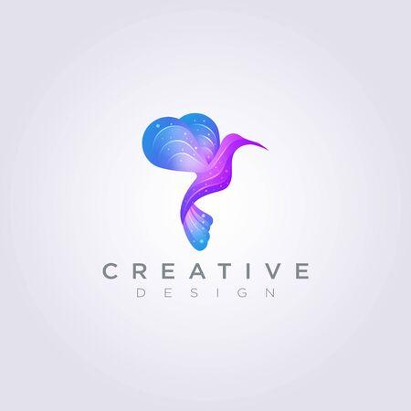 Beautiful Bird Flying Vector Illustration Design Clipart Symbol Logo Template.
