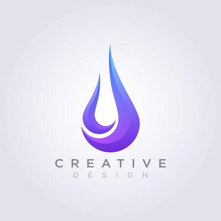 Water Drop Vector Illustration Design Clipart Symbol Logo Template. 向量圖像