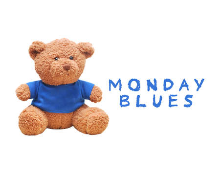 Brown teddy bear wear blue shirt isolated with white background. Typo word monday blues