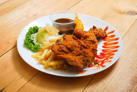Chicken tempura served on white plate. Western food menu. View from top Stock Photo - 97292491