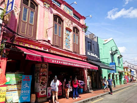 MELAKA, MALAYSIA - April 11, 2018 : View around the Jonker Street. Historical road with old building structure. Also known as China town in Malacca also as shopping area for tourist Editorial
