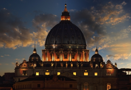 ancient buildings: A shot of famous Michelangelo dome of San Pietro -Rome- taken at the dusk  Stock Photo