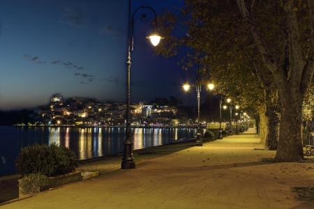 A night shot of Anguilara Sabazia promenade. It is a very nice village on the shore of Bracciano lake near Rome, Italy