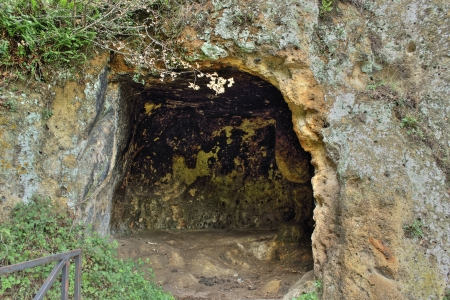 etruscan: An etruscan cave used as  tomb by etruscan people in Monterano, an ancient city near Rome