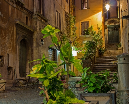A little place in Rome historic center shot at night