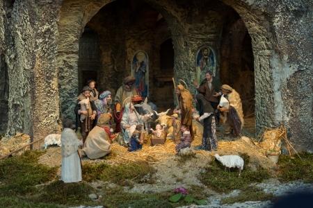 A reprentation of nativity in S Pietro square in Rome, Italy Standard-Bild