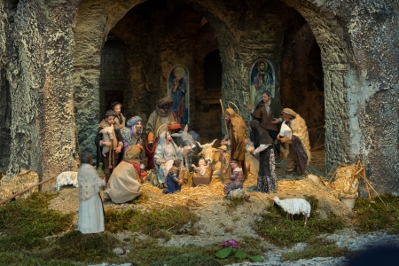 A reprentation of nativity in S Pietro square in Rome, Italy photo
