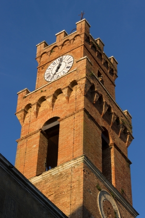 A view of Pienza city tower, at the town hall of Pienza, near Siena, Tuscany, Italy photo