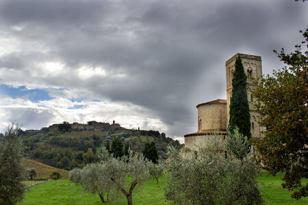 sant'antimo: A view of Tuscan village of Castelnuovo dellAbate, near Siena, Tuscany, Italy, and S. Antimo abbey