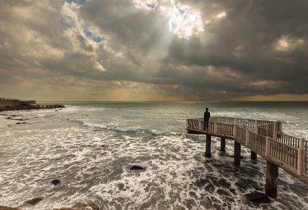 Sun rays seascape Standard-Bild