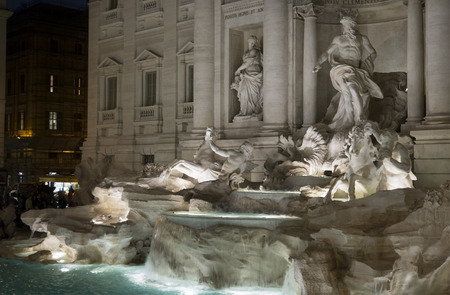Rome, Italy - 11 9 2015 An image of the very famous roman monument of Fontana di Trevi at reopening after restoration work