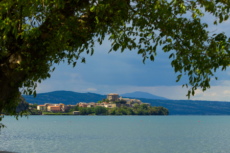A view of Capodimonte, a small, nice italian village, located next to Rome, on the coast of Bolsena Lake, the third italian lake by surface. Standard-Bild