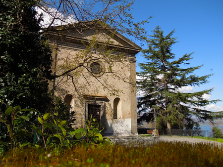 View of ancient and little church of Santa Maria del riposo in Bracciano, a little, nice village near Rome, Italy in a clear, sunny day