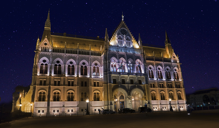 The iconic Budapest parliament in a starry night, side view from Kossuth Lajos tér
