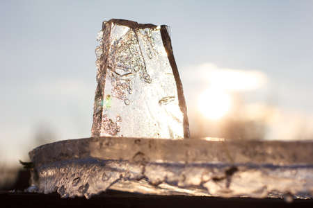 melting a piece of pure thin ice
