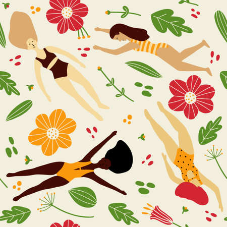 Cute girls of different nationalities. Background for fabric, wrapping, wallpaper, paper. Seamless vector texture. Vector Illustration