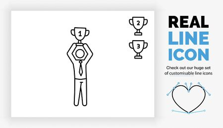Editable real line icon of a stick figure business man winning