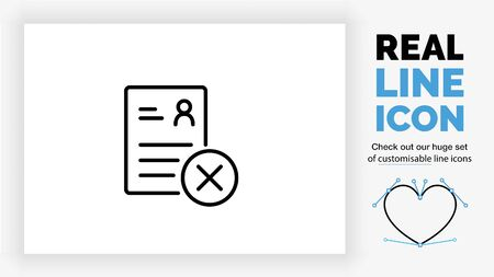 Editable line icon of a rejected person resume