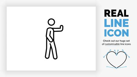 Editable stick figure holding his hand to stop someone