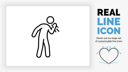 editable real line icon of a sick stick figure coughing and sneezing