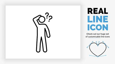 Editable line icon of a confused stick figure Illustration