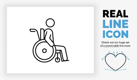 Editable real line icon of a old stick figure man in a wheelchair