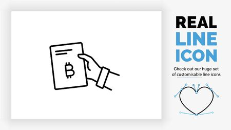 Editable line icon of a person giving a document about crypto currency