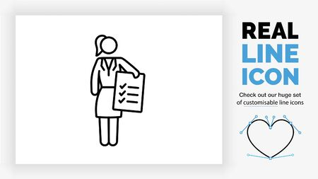 Editable line icon of a business woman handing a file
