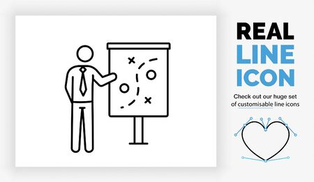 Editable line icon of a stick figure businessman having a strategy plan