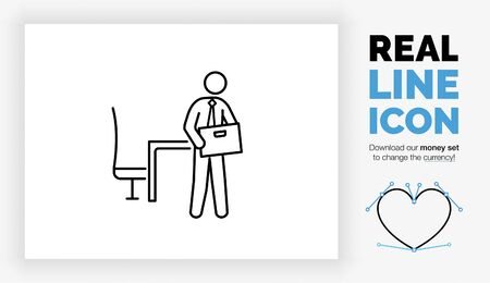 Editable real line icon of a stick figure employee in a suit