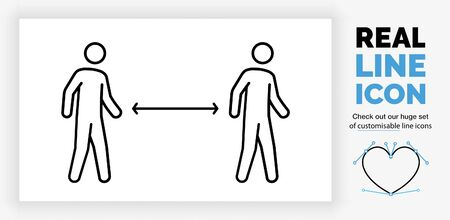 editable real line icon of two walking stick figure people having social distance