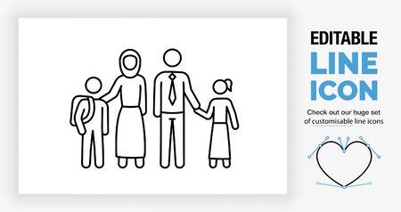Editable line icon of a muslim family stick figure set