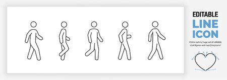 Editable line icon set of a stick man or stick figure walking in different poses