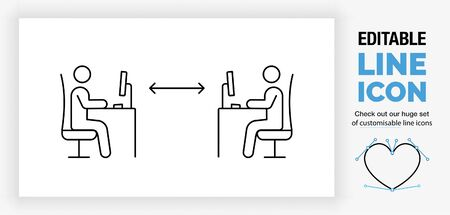 Editable line icon of working with social distance in the office Illustration