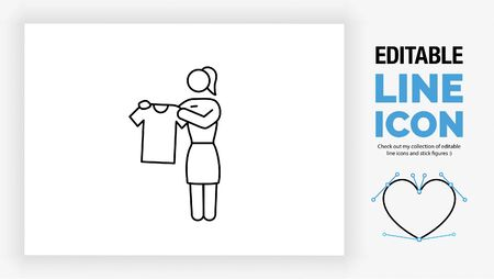 Editable line icon of a stick figure girl working in a clothing store