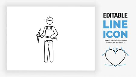 Editable line icon of a stick figure mine worker