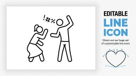 Editable line icon of domestic violence Vecteurs