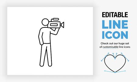Editable line icon of a stick figure cameraman in full body view with a video recorder Vettoriali