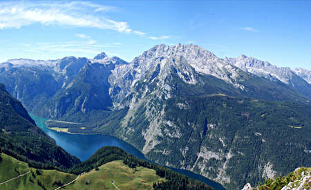 View on the mountain lake Koenigssee in Germany photo